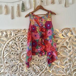 Anthropologie Leifsdottir Silk Floral Blouse